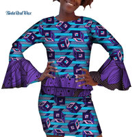 Women African Design Clothing Ankara Print Top and Skirts Sets for Women African Clothing Custom 2 Pieces Skirts Sets WY4183
