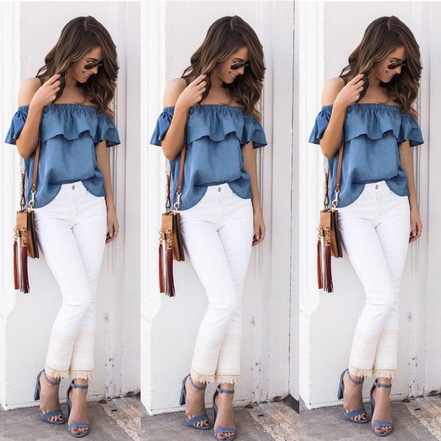 0fcc965ec663 New Women Sexy Summer Off Shoulder Denim Shirt Loose Fitting Front Button  Casual Ruffles Sleeveless Slash neck Solid Clothing