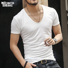 Brand Men T Shirt Sexy v neck Solid Casual Dry Slim Fitness White Shirts Tops Tee