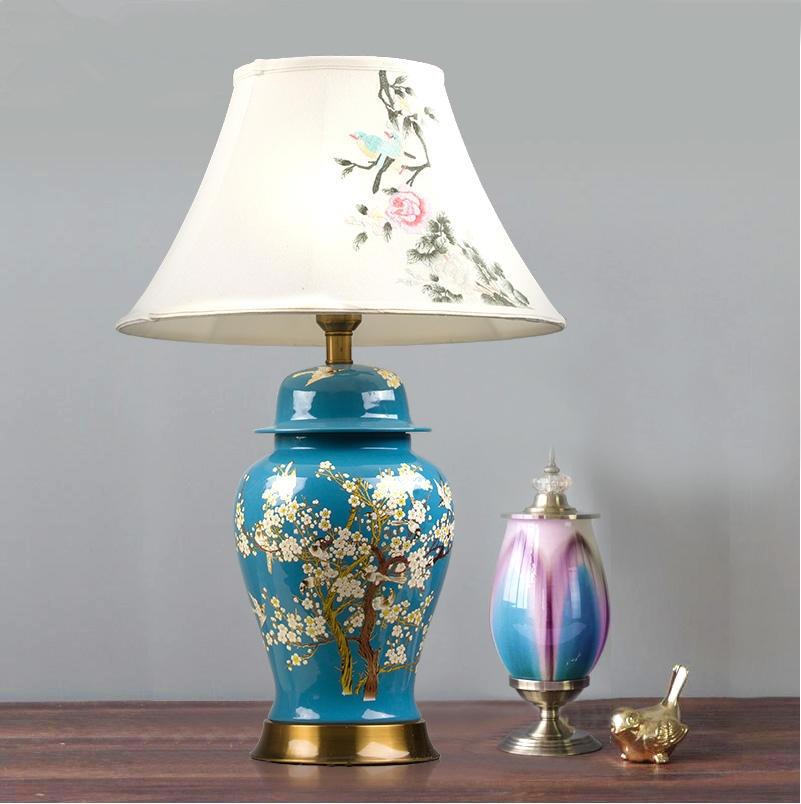vintage chinese porcelain ceramic table lamp bedroom living room wedding table lamp jingdezhen large table lamp plum blossom