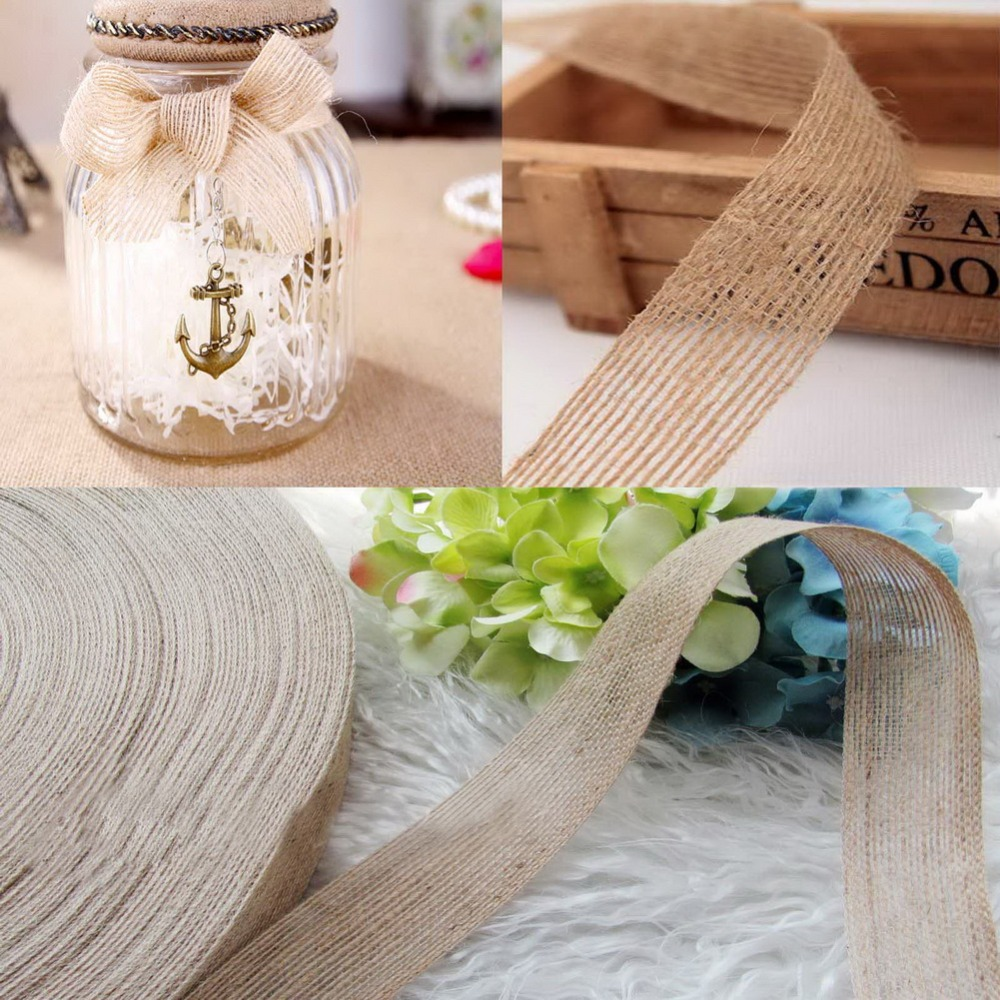 50m Roll 15mm Natural Hessian Jute Ribbon Rustic Country Vintage Burlap Wedding Event Party Favors Gift DIY Decoration Supplies In Ribbons From Home
