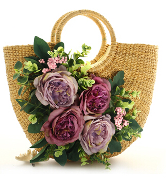 ФОТО 2016 New Original Flowers Ladies Straw Bags Summer Beach Woven Bag Handbag Straw Rattan Package Bag 4 Color With 4 Flower
