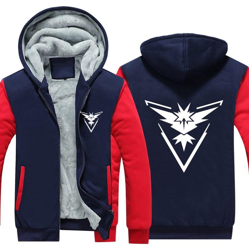 New Pokemon Go Team Valor Team Mystic Team Instinct Cosplay Jacket Sweatshirts Thicken Hoodie Zipper Coat US Size