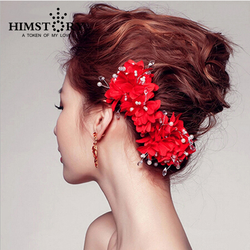 New Designs Red Flower Bridal Headpiece,Handmade Artificial Pearl Beads Wedding Hair Accessory