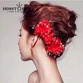 Nuevos Diseños de La Flor Roja Nupcial Celada, Hecho A Mano de Perlas Artificiales de la perla Accesorio Para El Pelo de La Boda