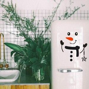 Image 5 - Наклейка «Снеговик» передняя дверь на холодильник Рождественский Декор виниловая наклейка на стену, Рождественская Наклейка на стену милый снеговик для украшения праздника