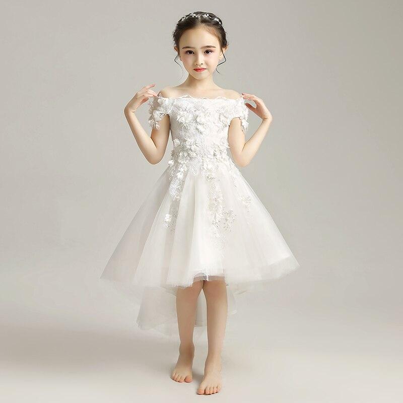 White 2019   Flower     Girl     Dress   Cute Children First Communion Prom   Dresses   Boat Neck Pageant Mesh Gown Zipper Vestidos De Festa
