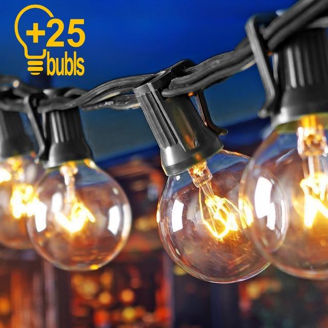 25 Bulb Led Globe String Light Christmas G40 Fairy Patio Garden Party Wedding Backyard Street Outdoor Decoration Light
