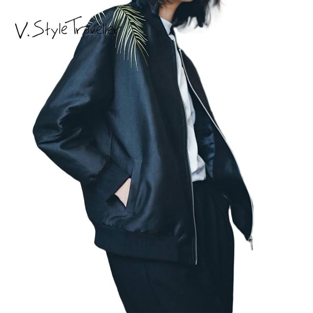 Vintage bordado jaqueta bomber mulheres terno preto casual de alta moda sexy veste femme blaser feminino jaqueta feminina outono