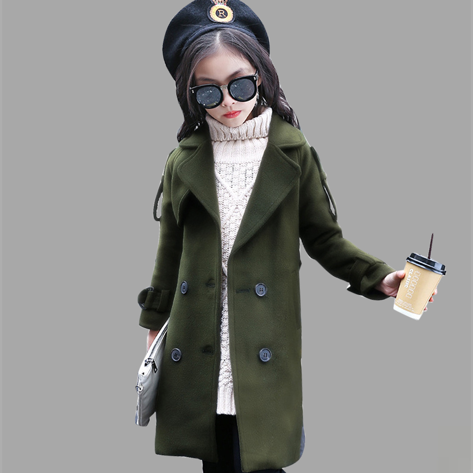 Girls Winter Jackets Long Woolen Coats For Kids Girls Casual Autumn Children's Clothes Teenage Clothing For Girls 6 8 12 Years girls winter jackets long woolen coats for kids girls casual autumn children s clothes teenage clothing for girls 6 8 12 years
