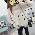 H.SA Womens Fashion False Two Piece Sweater Korean Style Knitted Patchwork Long Sleeve Sweater Jumpers Heart jersey mujer 2017