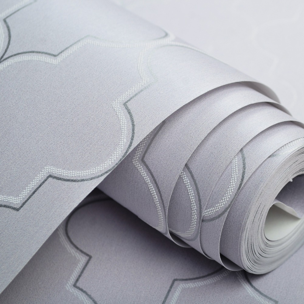 Moroccan Trellis Black White Modern Geometric Pattern Wallpaper Roll ...