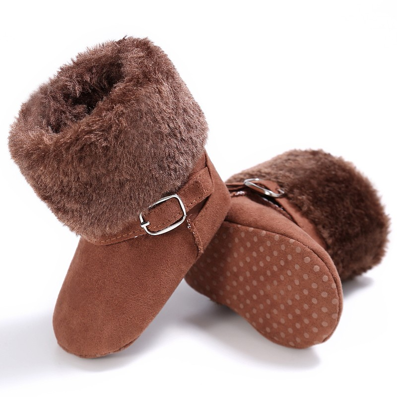 Unisex Snow Kids Baby Girls Boys Winter Lovely Warm Fleece Style Boots Anti-skid Cack Shoes