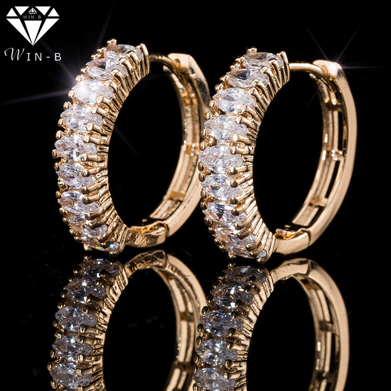 WIN-B Popular Silver Hoop Earrings With Rhinestone round Earrings Simple Big Circle Gold Earrings Crystal Jewelry