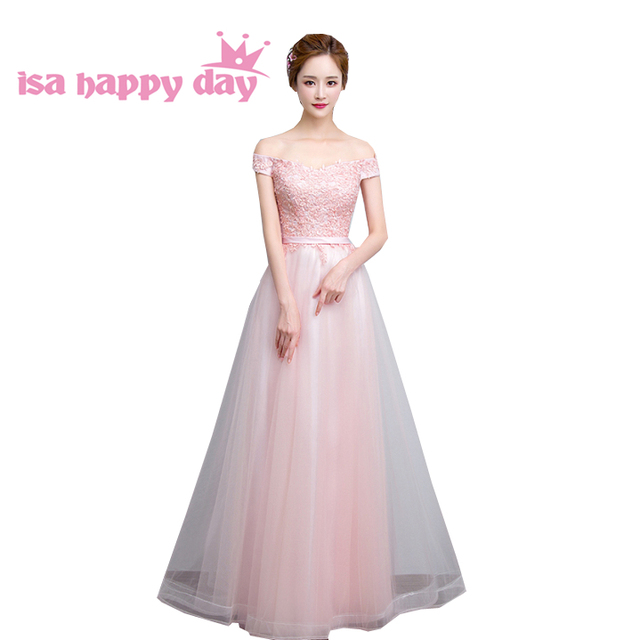 2017 women long beautiful elegant off shoulder lace modest pink prom ...