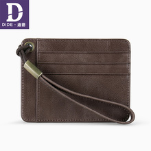 DIDE New Casual Mini Wallet Men And Women Genuine Leather Card & ID Holders Slim thin Male Female Add Wrist strap design