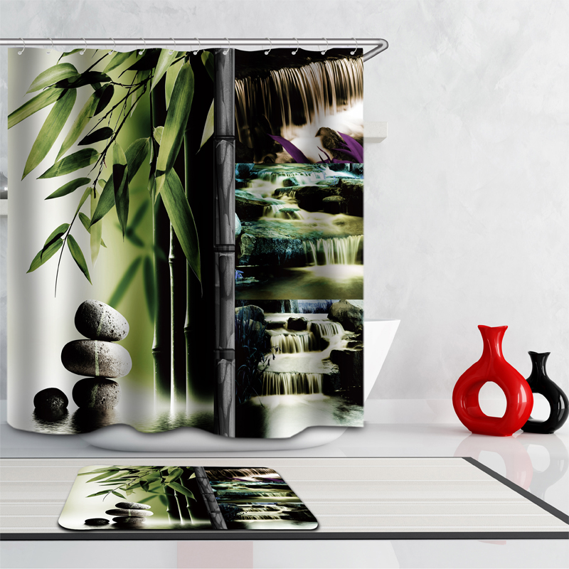 New Shower Curtain Chinese style rural Forest Scenic Simple modern Pattern Home decor Waterproof Bathroom Fabric Shower Curtain