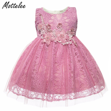 Baby Girl Lace Dress Infant Princess Flower Sleeveless White Birthday Party Dresses Toddler Fashion Formal Clothing for Girls
