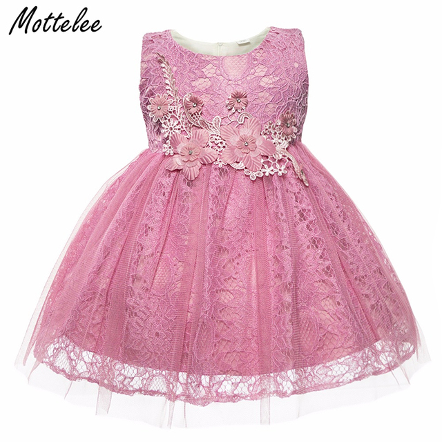 89406d88a1790 US $12.91 32% OFF|Baby Lace Dress Flower Infant Girls Party Dresses Toddler  Birthday Frocks Christening Gowns Weddining Dress Clothing for Girl-in ...