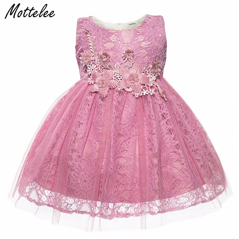 Baby Lace Dress Sleeveless Flower Infant Girls Dresses Toddler Wedding Party Frocks Fashion Formal Clothing for Girl