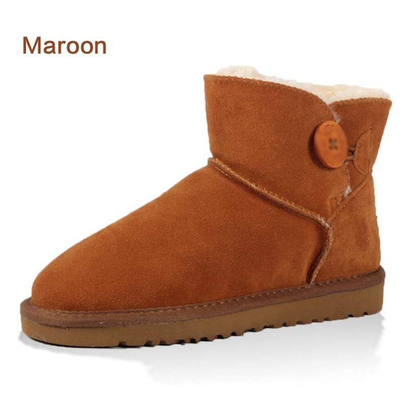 2017 Winter Australia women With Fur Boots ug Mujer Botas Ankle Leather Button Lady Snow Boots Warm men Genuine Leather Shoes 2017 sales of the most popular hot winter boots women ug australia boots women slip warm women s boots in the snow size 34 44