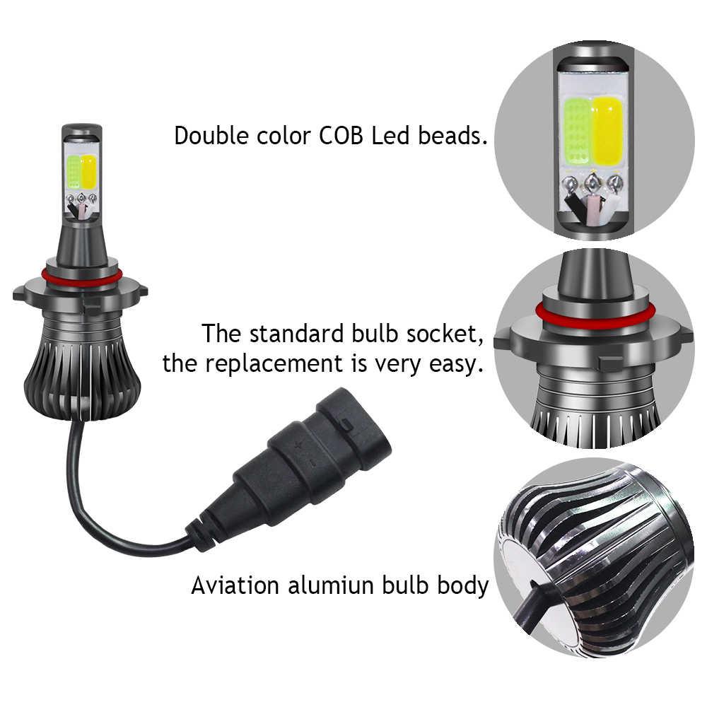 Cawanerl voiture antibrouillard double couleur LED ampoule H1 H3 H7 H8 H11 9005 HB3 9006 HB4 880 881 Auto brouillard conduite lampe blanc jaune glace bleu