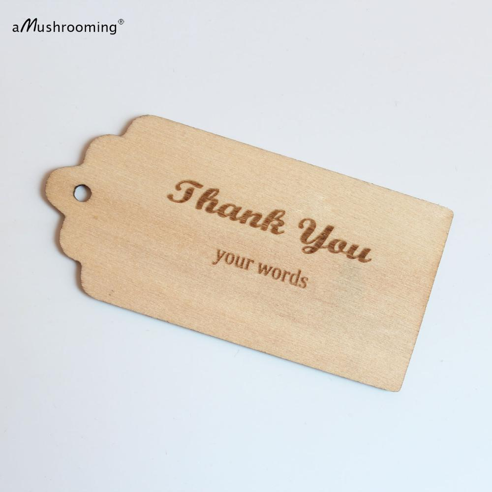 100 Custom Thank You Wooden Tags Wedding Personalized