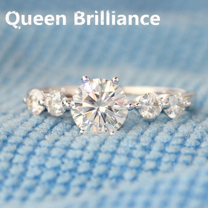 14K 585 White Gold 1.4 Carat ct Center 6.5mm F color Round Brilliant Lab Grown Moissanite Diamond Engagement Ring for Women