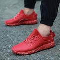 New Arrival Men Casual Shoes Spring Autumn Fashion PU Soft Leather Flat With Sport Walking Men's Trainers Basket Zapatillas Red