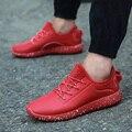 Novos Homens Chegada Sapatos Casuais Moda Primavera Outono PU Couro Macio Plano Com Basket Zapatillas Formadores dos homens do Esporte Curta vermelho