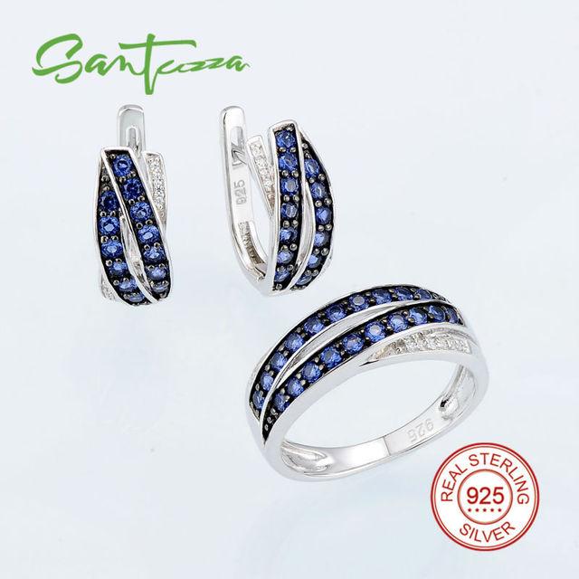 Conjunto de jóias para As Mulheres Azul Nano Diamante CZ Conjunto de Jóias Anel Brincos Set 925 Conjunto de Jóias de Prata Esterlina