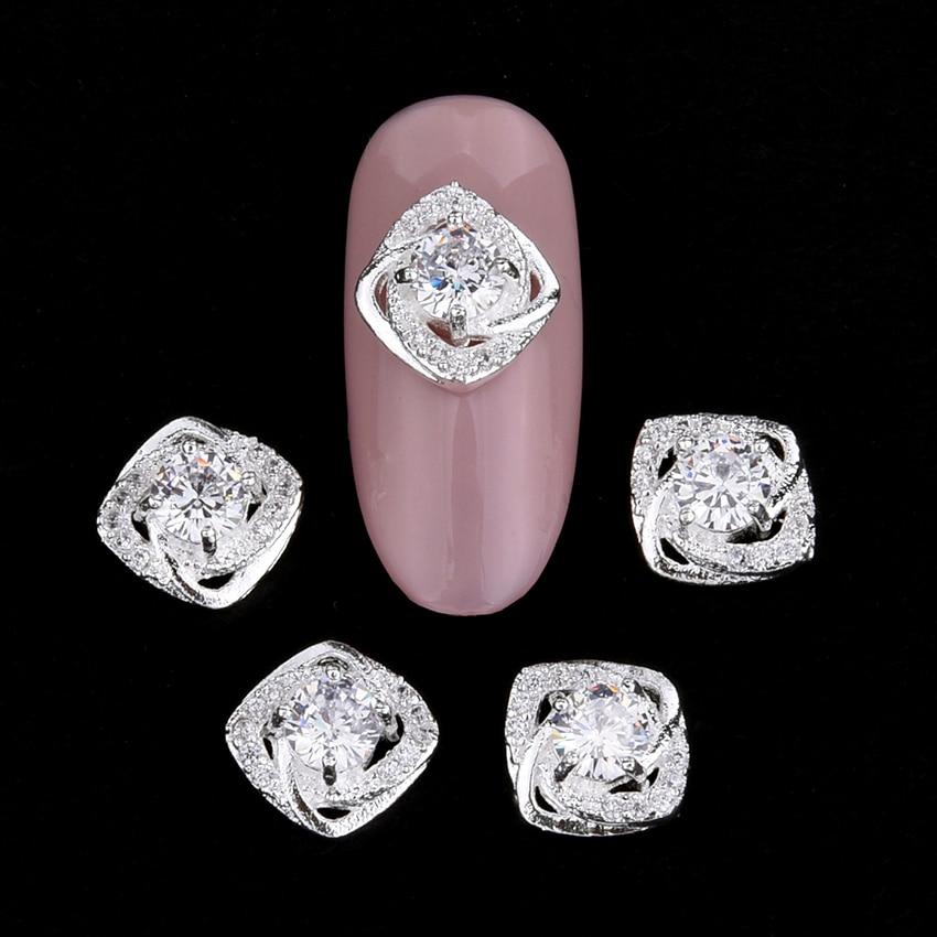 10 pcs unas decoracao Zircão jóias prego ongles praça glitter cristais  unhas prego curvo encantos de 914c00ea103a