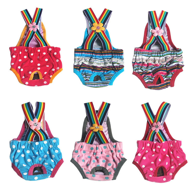 Cute Pet Dog Physiological Pants Dot Print Cotton Pet Dog Panties Strap Sanitary Dog Underwear Diapers Puppy Shorts Pants