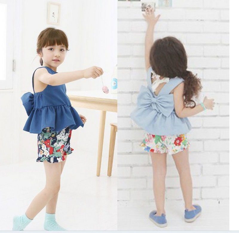 New Kids Clothes Baby Girls Summer Clothing Solid Jeans Bow Tops + Floral Print Cotton Pants Set Toddler Girl Clothing 2PCS 2pcs children outfit clothes kids baby girl off shoulder cotton ruffled sleeve tops striped t shirt blue denim jeans sunsuit set
