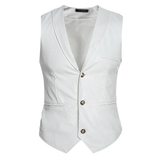 Mens Vest Sleeveless Casual Jackets Vest Faux Leather Three Button Waistcoat Coat 0082