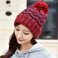 De Las Mujeres de moda de Invierno Cálido Parqué de Ganchillo Hechos A Mano Beanie Sombrero de Punto Cap