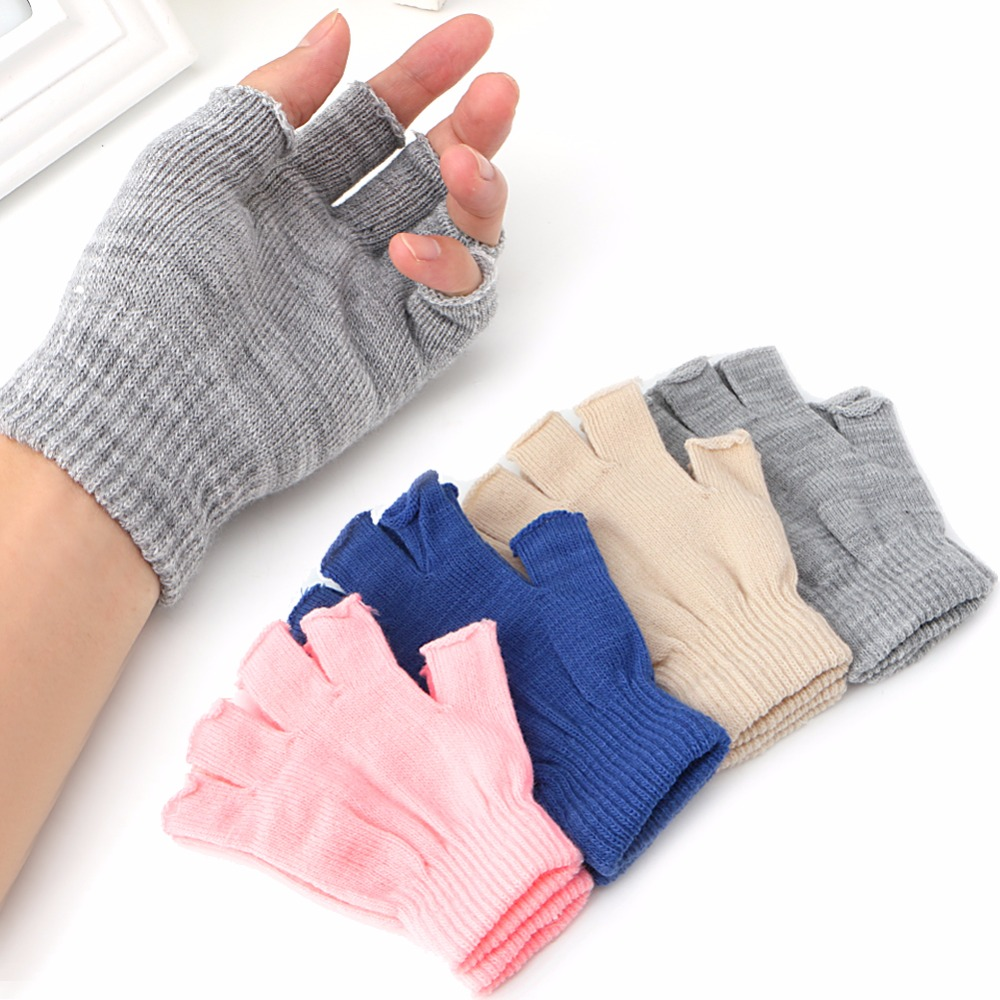 New 1 Pair Stretch Knitted Gloves Men Women Fingerless Winter Warmer Mittens Gray/ Pink/ Beige/ Royal Blue