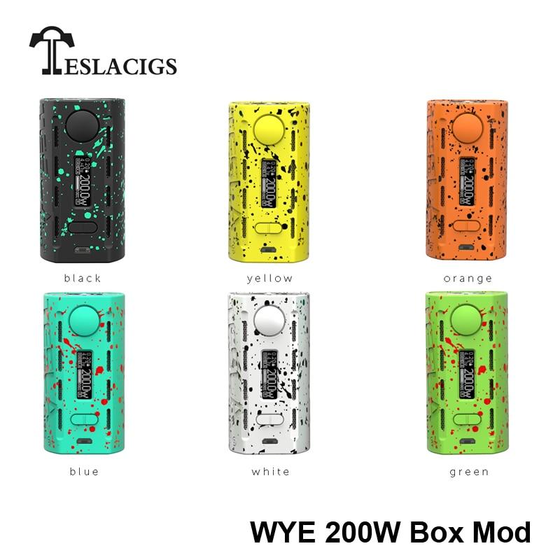 100% Original TESLACIGS Tesla WYE 200 W boîte Mod 200 w cigarette électronique vape kit 510 fil 18650 boîte mod pour vaper-in Cigarette électronique Mods from Electronique    1
