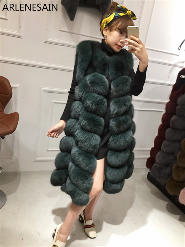 Arlenesain custom New Finnish skin leather fox hair vest Korean version was thin in the long section women vest