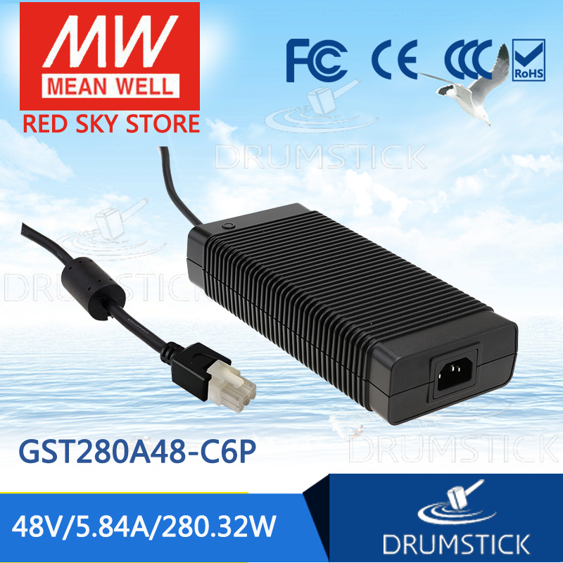 MEAN WELL GST280A48-C6P 48V 5.84A meanwell GST280A 48V 280.32W AC-DC High Reliability Industrial Adaptor selling hot mean well gst280a12 c6p 12v 21a meanwell gst280a 12v 252w ac dc high reliability industrial adaptor