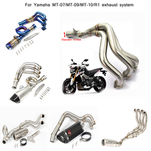 цены Silp on For Yamaha MT-07 MT-09 MT-10/R1 Motorcycle Stainless Steel Front Section Connecting Pipe Exhaust Muffler Tubes System
