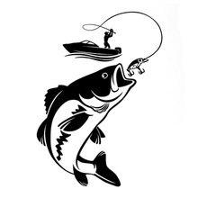 Car Decal 12.3CM * 17.1CM Fun Fishing Fisherman Hobby Fish Boat Car Sticker Vinyl Decal 3 sizes outdoor sports go fishing white perch car sticker window fish tank decal vinyl tape h8100