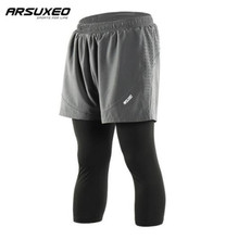ARSUXEO Men's Breathable Running Shorts Workout GYM Fitness Shorts Training Jogging 2 IN 1  Marathon Shorts arsuxeo 2 in 1 marathon running shorts men breathable quick dry training fitness athletic gym sports shorts with zipper pocket