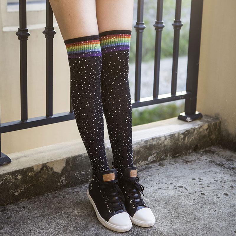 Women Stocking Long <font><b>Socks</b></font> with Bling Rhinestone Thigh High <font><b>Socks</b></font> Japanese Cosplay <font><b>Kawaii</b></font> <font><b>Knee</b></font> <font><b>Socks</b></font> for Girls <font><b>Knee</b></font> Stockings image