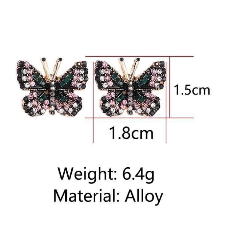 Promotion Luxury Dance Trippingly Butterfly Rhinestone Stud Earrings Women Brincos Earrings Bijoux Jewelry Gift E5171