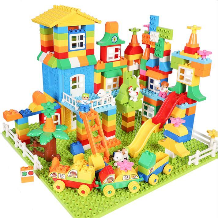 DIY Colorful Big Blocks Castle Figures Car Truck Constructions Educational Building Blocks For Kids Compatible LegoED DuploED