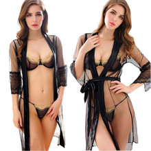 Sexy Lingerie Hot Women Porno Sleepwear Lace Underwear Sex Clothes 2PCS Babydoll G-String Erotic Transparent Dress exotic appare