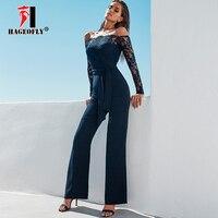 New Designer White Black Jumpsuits Women Sexy Slash Neck Lace High Waist Boot Cut Long Sleeve Summer Runway Bandage Jumpsuits
