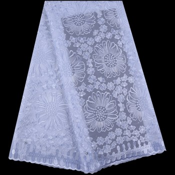 Pure White Swiss Voile Lace In Switzerland High Quality African Swiss Cotton Lace Fabric With Stones For Nigerian Dress F1666