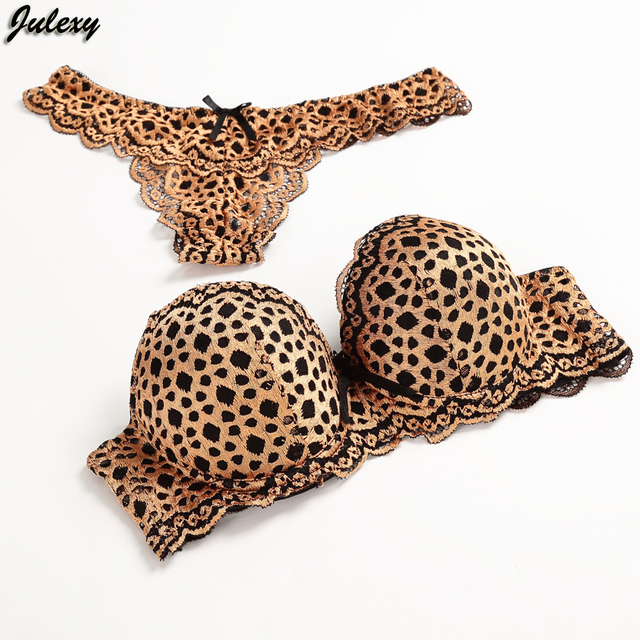 Julexy Gold Leopard Temptation Lace Thongs Women Bra Set Intimate Plus Size ABC Push Up Bra Brief Sets Sexy Underwear Panty Set
